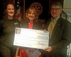 Katherine Brieger (center), Executive Director of the Warwick Area Migrant Committee (WAMC) is shown accepting the donation from Rotary President Dave Eaton (right). At left is Past President Katie Hansen. Photo courtesy of Jim LaPlante