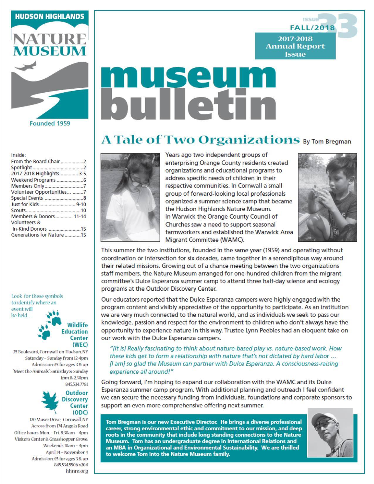 WAMC Summer Enrichment Program Featured in Hudson Highlands Nature Museum Annual Report.